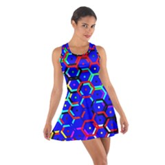 Blue Bee Hive Pattern Cotton Racerback Dress