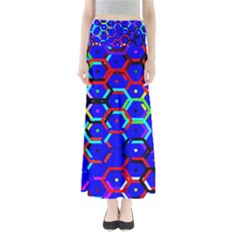 Blue Bee Hive Pattern Maxi Skirts