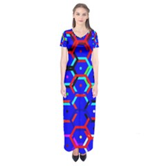 Blue Bee Hive Pattern Short Sleeve Maxi Dress