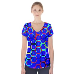Blue Bee Hive Pattern Short Sleeve Front Detail Top