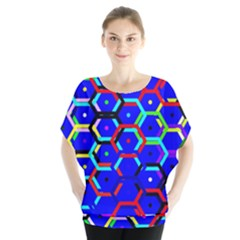 Blue Bee Hive Pattern Blouse