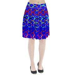 Blue Bee Hive Pattern Pleated Skirt