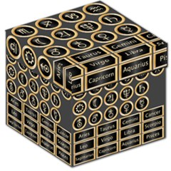 Black And Gold Buttons And Bars Depicting The Signs Of The Astrology Symbols Storage Stool 12