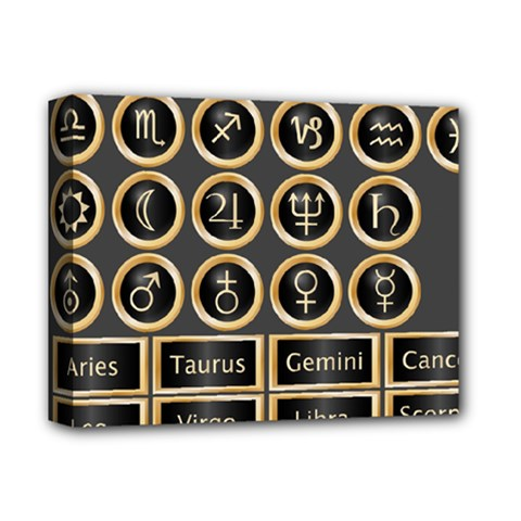 Black And Gold Buttons And Bars Depicting The Signs Of The Astrology Symbols Deluxe Canvas 14  X 11