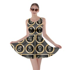 Black And Gold Buttons And Bars Depicting The Signs Of The Astrology Symbols Skater Dress