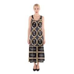 Black And Gold Buttons And Bars Depicting The Signs Of The Astrology Symbols Sleeveless Maxi Dress
