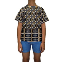 Black And Gold Buttons And Bars Depicting The Signs Of The Astrology Symbols Kids  Short Sleeve Swimwear