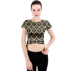 Black And Gold Buttons And Bars Depicting The Signs Of The Astrology Symbols Crew Neck Crop Top