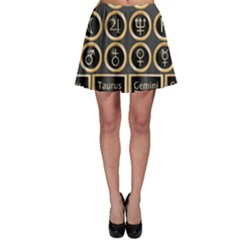 Black And Gold Buttons And Bars Depicting The Signs Of The Astrology Symbols Skater Skirt