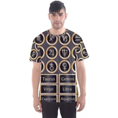 Black And Gold Buttons And Bars Depicting The Signs Of The Astrology Symbols Men s Sport Mesh Tee