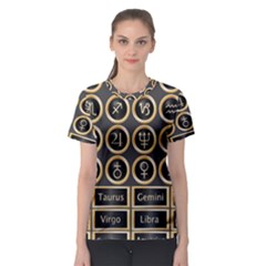 Black And Gold Buttons And Bars Depicting The Signs Of The Astrology Symbols Women s Sport Mesh Tee