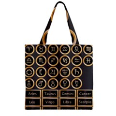 Black And Gold Buttons And Bars Depicting The Signs Of The Astrology Symbols Grocery Tote Bag