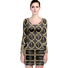 Black And Gold Buttons And Bars Depicting The Signs Of The Astrology Symbols Long Sleeve Bodycon Dress