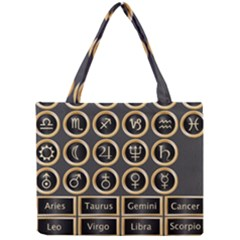 Black And Gold Buttons And Bars Depicting The Signs Of The Astrology Symbols Mini Tote Bag