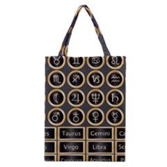 Black And Gold Buttons And Bars Depicting The Signs Of The Astrology Symbols Classic Tote Bag