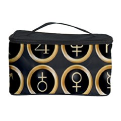 Black And Gold Buttons And Bars Depicting The Signs Of The Astrology Symbols Cosmetic Storage Case