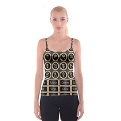 Black And Gold Buttons And Bars Depicting The Signs Of The Astrology Symbols Spaghetti Strap Top