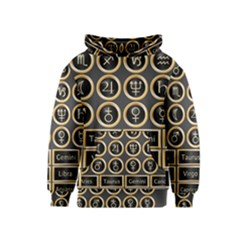 Black And Gold Buttons And Bars Depicting The Signs Of The Astrology Symbols Kids  Pullover Hoodie