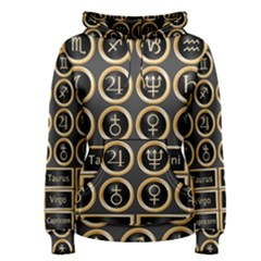 Black And Gold Buttons And Bars Depicting The Signs Of The Astrology Symbols Women s Pullover Hoodie