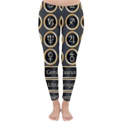 Black And Gold Buttons And Bars Depicting The Signs Of The Astrology Symbols Classic Winter Leggings