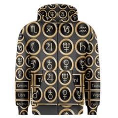 Black And Gold Buttons And Bars Depicting The Signs Of The Astrology Symbols Men s Zipper Hoodie