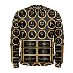 Black And Gold Buttons And Bars Depicting The Signs Of The Astrology Symbols Men s Sweatshirt