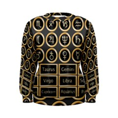 Black And Gold Buttons And Bars Depicting The Signs Of The Astrology Symbols Women s Sweatshirt