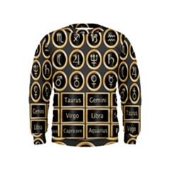 Black And Gold Buttons And Bars Depicting The Signs Of The Astrology Symbols Kids  Sweatshirt