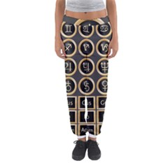 Black And Gold Buttons And Bars Depicting The Signs Of The Astrology Symbols Women s Jogger Sweatpants