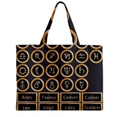 Black And Gold Buttons And Bars Depicting The Signs Of The Astrology Symbols Zipper Mini Tote Bag