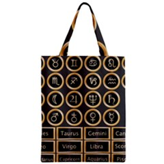 Black And Gold Buttons And Bars Depicting The Signs Of The Astrology Symbols Zipper Classic Tote Bag