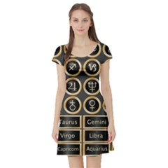 Black And Gold Buttons And Bars Depicting The Signs Of The Astrology Symbols Short Sleeve Skater Dress