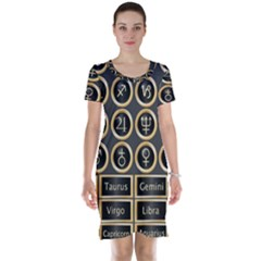 Black And Gold Buttons And Bars Depicting The Signs Of The Astrology Symbols Short Sleeve Nightdress