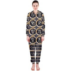 Black And Gold Buttons And Bars Depicting The Signs Of The Astrology Symbols Hooded Jumpsuit (Ladies)