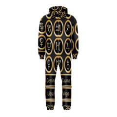 Black And Gold Buttons And Bars Depicting The Signs Of The Astrology Symbols Hooded Jumpsuit (kids)