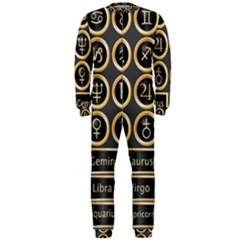 Black And Gold Buttons And Bars Depicting The Signs Of The Astrology Symbols Onepiece Jumpsuit (men)