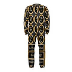 Black And Gold Buttons And Bars Depicting The Signs Of The Astrology Symbols Onepiece Jumpsuit (kids)