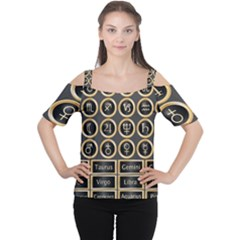 Black And Gold Buttons And Bars Depicting The Signs Of The Astrology Symbols Women s Cutout Shoulder Tee