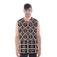 Black And Gold Buttons And Bars Depicting The Signs Of The Astrology Symbols Men s Basketball Tank Top