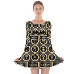Black And Gold Buttons And Bars Depicting The Signs Of The Astrology Symbols Long Sleeve Skater Dress