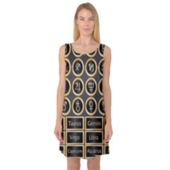 Black And Gold Buttons And Bars Depicting The Signs Of The Astrology Symbols Sleeveless Satin Nightdress