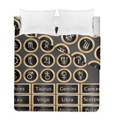 Black And Gold Buttons And Bars Depicting The Signs Of The Astrology Symbols Duvet Cover Double Side (full/ Double Size)