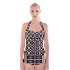 Black And Gold Buttons And Bars Depicting The Signs Of The Astrology Symbols Boyleg Halter Swimsuit