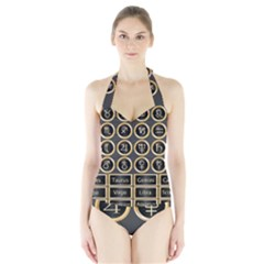 Black And Gold Buttons And Bars Depicting The Signs Of The Astrology Symbols Halter Swimsuit