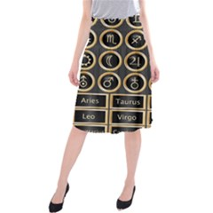 Black And Gold Buttons And Bars Depicting The Signs Of The Astrology Symbols Midi Beach Skirt