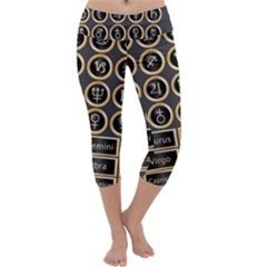 Black And Gold Buttons And Bars Depicting The Signs Of The Astrology Symbols Capri Yoga Leggings