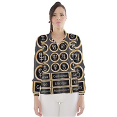 Black And Gold Buttons And Bars Depicting The Signs Of The Astrology Symbols Wind Breaker (women)