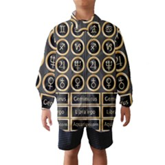 Black And Gold Buttons And Bars Depicting The Signs Of The Astrology Symbols Wind Breaker (kids)