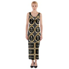 Black And Gold Buttons And Bars Depicting The Signs Of The Astrology Symbols Fitted Maxi Dress