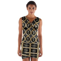 Black And Gold Buttons And Bars Depicting The Signs Of The Astrology Symbols Wrap Front Bodycon Dress